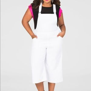 NEW Ashley Stewart white wide leg overalls